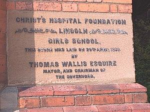 Lincoln Christ's Hospital School - Foundation stone of former girls' school