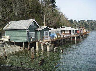 Kitsap County, Washington - Beach cottages in Fragaria along Colvos Passage in Kitsap County