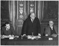 France. Here Richard Kurfurst, of the Austrian Trade Union of Journalists (left) and Eugene Morel, of the autonomous... - NARA - 541689.tif
