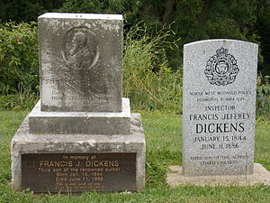 Francis Dickens - Dickens' grave in Riverside Cemetery in Moline, Illinois.