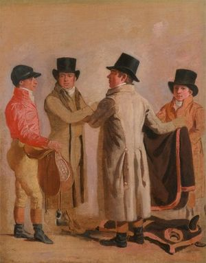 Waxy (horse) - Waxy's trainer, Robert Robson (center) with jockey Frank Buckle (left) and John Wastel in a painting by Benjamin Marshall, c. 1802.