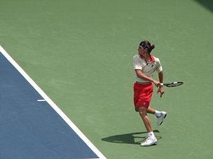 Frank Dancevic - Dancevic returning a shot during play in Indianapolis, 2009