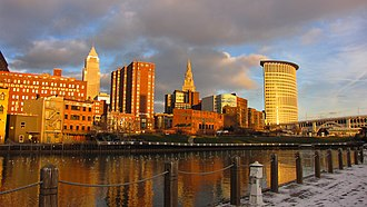 The Flats - The Flats and Downtown Cleveland, Ohio, as seen from the west bank of the Cuyahoga River