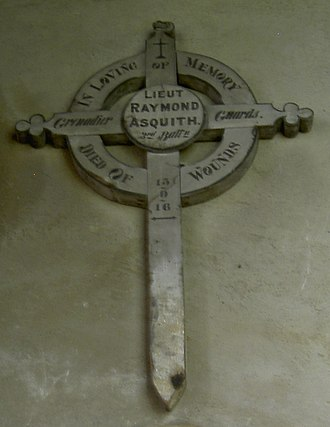 Raymond Asquith - Battlefield cross for Asquith, in St Andrew's Church in Mells