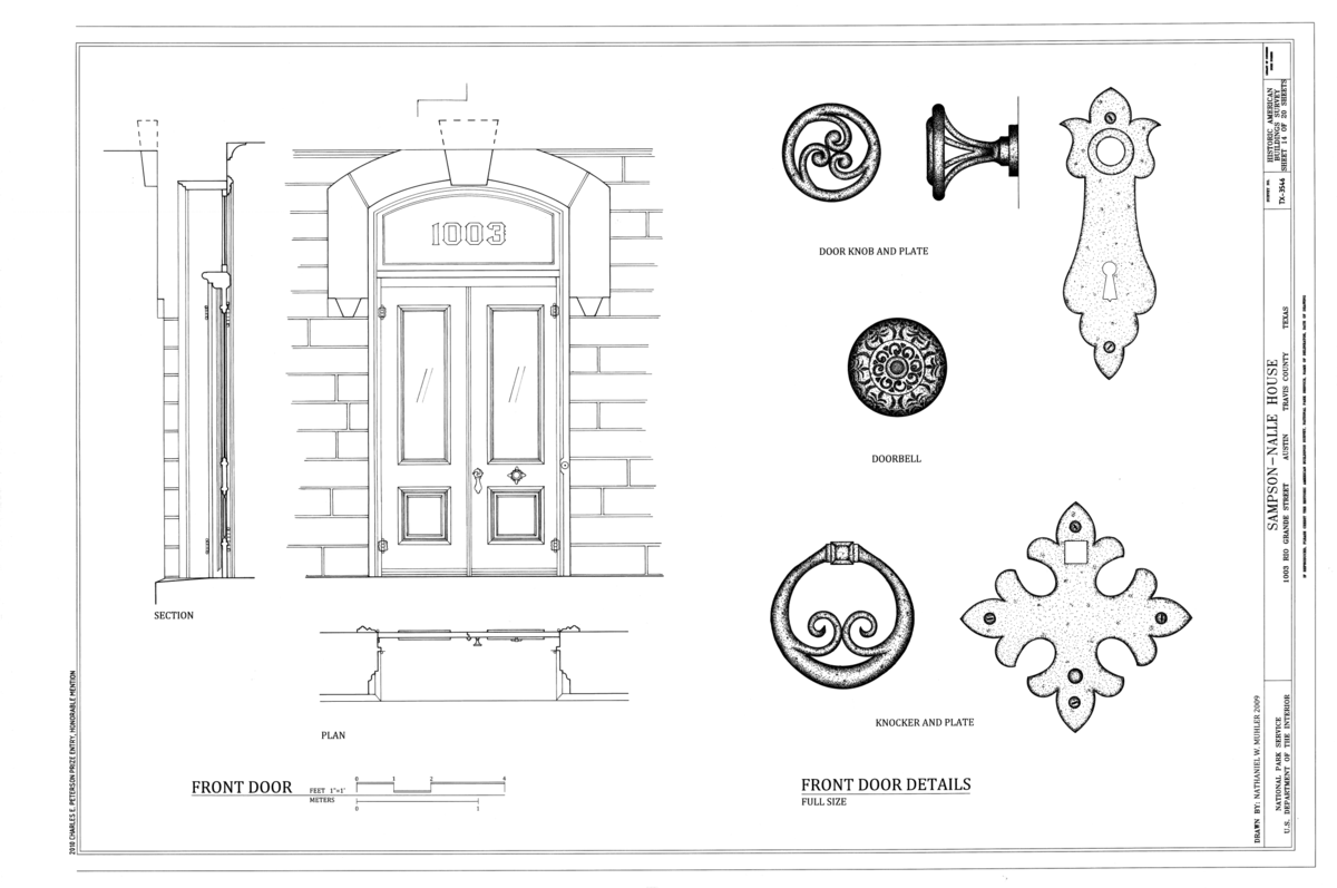 file front door elevation and details sampson nalle house 1003 rio grande street austin travis county tx habs tx 3546 sheet 14 of 20 png wikimedia commons file front door elevation and details