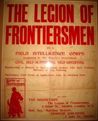 Legion of Frontiersmen - A Recruiting Poster, London; the contact was Erskine Childers