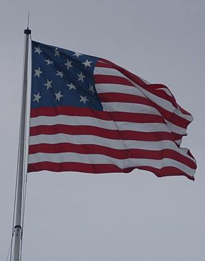 Fort McHenry - A replica of the 15-star/15-stripe U.S. flag that currently flies over Fort McHenry