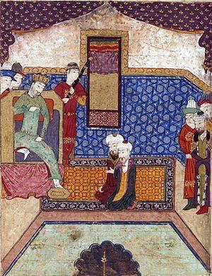 Güyük Khan - Güyük interrogates Djamâl al-Dîn Mahmûd Hudjandî. Tarikh-i Jahangushay-i Juvaini.