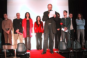 Grazer Autorenversammlung - GAV group performance at the Literaturhaus Graz (2003)
