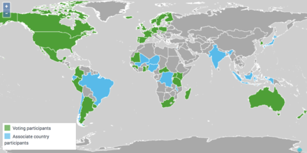 The formal members or 'Participants' in GBIF consist of countries, economies and international organizations that collaborate to advance free and open access to biodiversity data. This map displays GBIF's national Participants as of 29 August 2017. GBIF network as of 29 Aug 2017.png