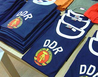 Ostalgie - GDR T-shirts, for sale in Berlin in 2004
