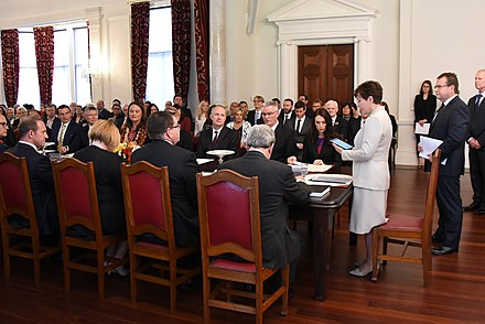 Governor-General Dame Patsy Reddy presides over the swearing in of the new Sixth Labour Government on 26 October 2017 GGNZ Swearing of new Cabinet - Welcome.jpg