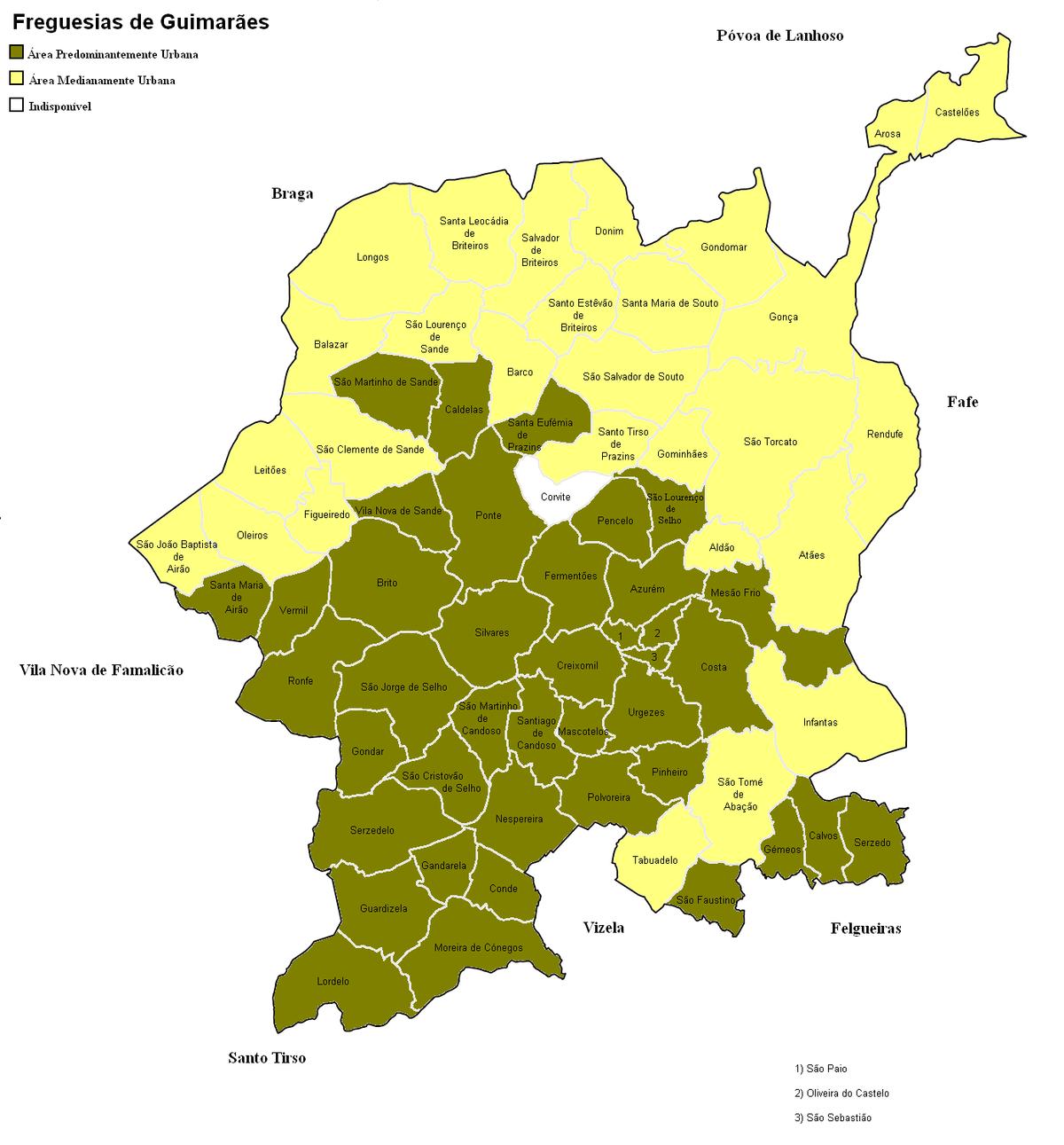 mapa freguesias de portugal Freguesias e organização administrativa de Guimarães – Wikipédia  mapa freguesias de portugal