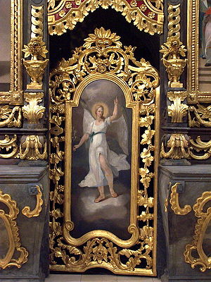 The picture is a Greek Catholic icon of the ar...