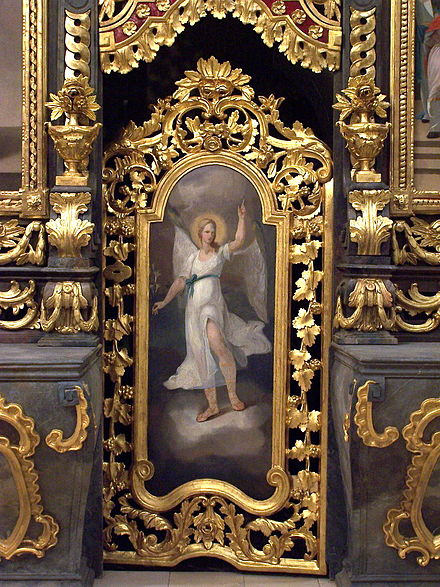 Gabriel on the southern deacons' door of the iconostasis in the Cathedral of Hajdúdorog, Hungary. - Gabriel