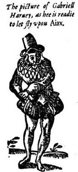 """Have with You to Saffron-Walden - Caricature of Harvey from the pamphlet, entitled """"picture of Gabriel Harvey as he is ready to let fly upon Ajax"""". This depicts  him rushing to the toilet at the thought of Nashe's publication. """"Ajax"""" is a common Elizabethan pun on """"a jacks"""", slang for toilet."""