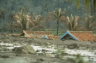 Lahar - The aftermath of a lahar from the 1982 eruption of Galunggung, Indonesia.