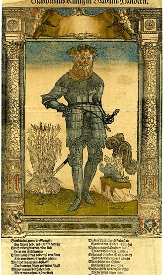 Gambrinus - Gampar (Gambrivius), depicted as the king of Flanders and Brabant. A sheaf of wheat is to his right. (From a series of broadsides produced c. 1543.)