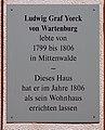 Gedenktafel Yorckstr 45 (Mittenwalde) Ludwig Yorck von Wartenburg.jpg