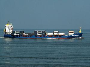 Geest Merchant IMO 9110547 - Callsign V2PM2 approaching Port of Rotterdam 17-Aug-2005.jpg