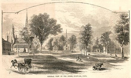 """General view of the Green, Norwalk, Conn."" published in 1855 by Ballou's Pictorial GeneralViewOfTheGreenNorwalkCT1855.jpg"