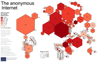 Tor (anonymity network) - A cartogram illustrating Tor usage