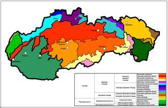 Geomorphological division of Slovakia - Geomorphological division of Slovakia, with Slovak names
