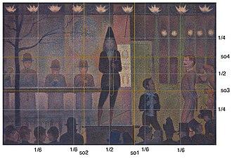 Parade de cirque - Parade de cirque with golden mean overlay, showing a close approximation to the divine proportion