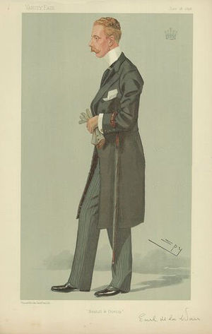 "Gilbert Sackville, 8th Earl De La Warr - ""Bexhill and Dunlop"". Caricature by Spy published in Vanity Fair in 1896."