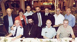 Gilla Gerzon - Gerzon with a gathering of religious leaders from Jerusalem, meeting with visiting U.S. Air Force and U.S. Army Chiefs of Chaplains and U.S. Sixth Fleet Navy Chaplain
