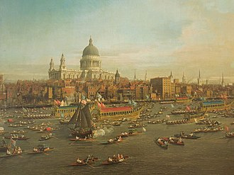St Paul's Cathedral - Canaletto: The River Thames with St. Paul's Cathedral on Lord Mayor's Day (1746; Lobkowicz Collections, Prague)