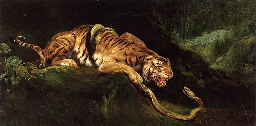 Giulio Aristide Sartorio - A Tiger Struggling with a Snake