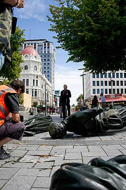 Godley Statue toppled