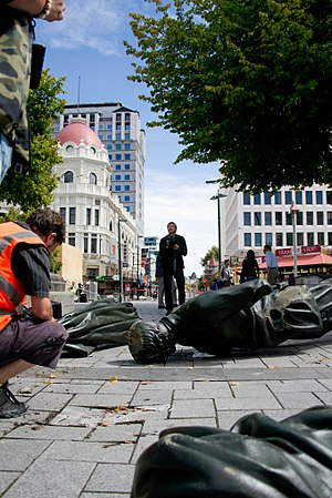 Godley Statue - The Godley Statue fell off its plinth in the February 2011 Christchurch earthquake.