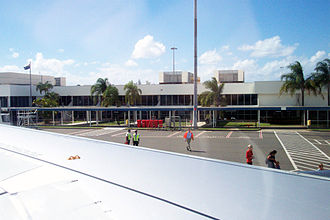 Gold Coast Airport - Eric Robinson terminal from inside an Airbus A320