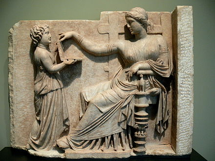 Gravestone of a woman with her slave child-attendant, c. 100 BC Grabstein einer Frau mit Dienerin.jpg