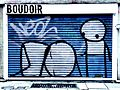 Graffiti in Shoreditch, London - Boudoir by Stik (9425000656).jpg