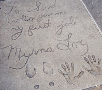 Grauman's Chinese Theatre - Many older entries contain personal messages to Sid Grauman, such as Myrna Loy's 1936 contribution.  Loy's first job was as a dancer at the theatre in the 1920s.