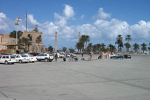 Martyrs' Square, Tripoli - Looking from Green Square north towards the sea. On the left is the Red Castle Museum (2008).