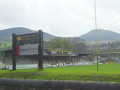 The Greenyards at Melrose in Scotland, beneath the Eildon Hills, is the original home of rugby sevens. Greenyardsmelrose.jpg