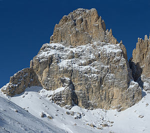 The Grohmann peak in the Dolomites - SE face