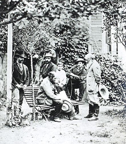 Impressionnistes à Auvers sur Oise en 1873 dont Camille Pissarro, Paul Cézanne et Armand Guillaumin