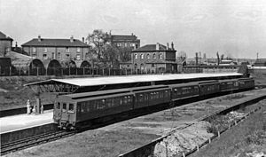 Gunnersbury station - District line train for Richmond in 1955