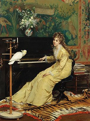 Gustave Léonard de Jonghe - Woman at the piano with a cockatoo