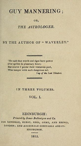 Guy Mannering - First edition title page.
