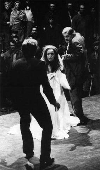 Patrice Chéreau - A scene from Götterdämmerung in the 1976 centenary ''Ring Cycle'' at the Bayreuth Festival, with Gwyneth Jones as Brünnhilde