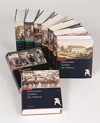 Historical Dictionary of Switzerland - The first three printed volumes, in German, French and Italian.