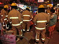 HK Cheung Sha Wan Night Cheung Wah Street Un Chau Street traffic accident Firefighters at work Nov-2013 07.JPG