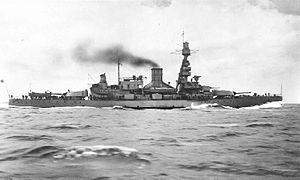 HSwMS Gustav V - Gustav V in 1930 after refit and merged funnels.