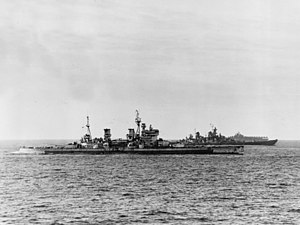 HMS King George V and USS Missouri (BB-63) underway off Japan, 16 August 1945 (80-G-455703).jpg